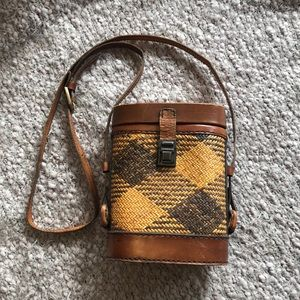 Vintage rattan and leather bag